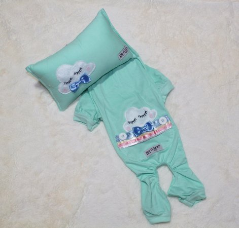 Pijama + travesseiro DuDog Vest Nuvem Acqua Gravata