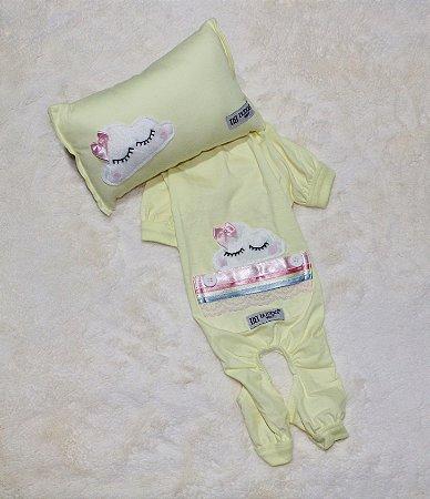 Pijama + travesseiro DuDog Vest Nuvem Amarelo Lacinho