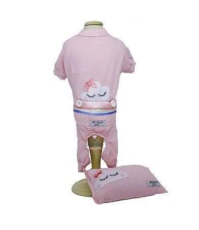 Pijama + travesseiro DuDog Vest Nuvem Rosa Lacinho