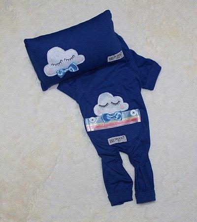 Pijama + travesseiro DuDog Vest Nuvem Azul Bic