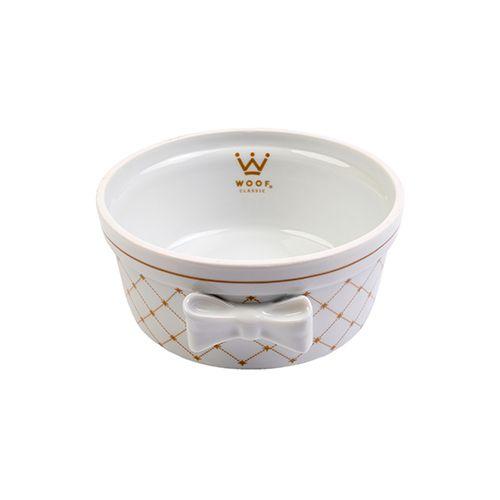 Comedouro Porcelana para Cachorro Woof Classic Laço Matelassê Bege