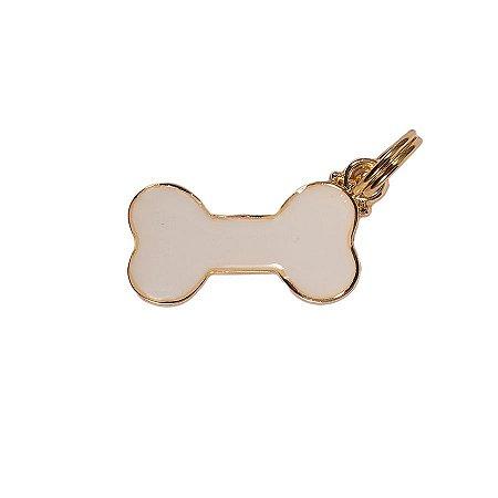 Pingente de Identificação para Cachorro Woof Classic Ossinho Branco