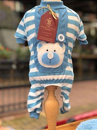 Pijama Urso listras azul Maristela Moda Pet