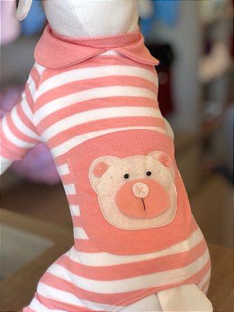 Pijama Urso listras salmão Maristela Moda Pet