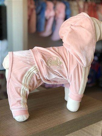 Macacão Veludo Molhado Maristela Moda Pet rosa e creme