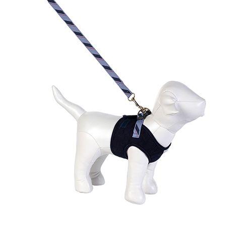 Guia e Peitoral Colete para Cachorro Brim Matelassê Azul Marinho Woof Classic