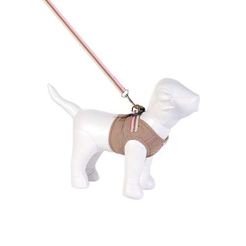 Guia e Peitoral Colete para Cachorro Brim Matelassê Caqui Woof Classic