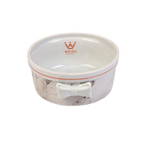 Comedouro Porcelana para Cachorro Woof Classic Empire Mármore Preto e Branco com Rosê Laço