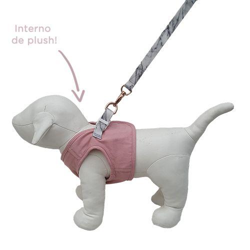 Guia e Peitoral Colete para Cachorro Brim e Plush Woof Classic Rosa