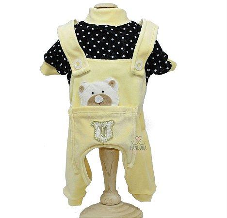 Macacão em Plush para Cachorro Maristela Moda Pet Tip Top Amarelo