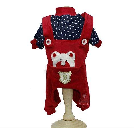 Macacão em Plush para Cachorro Maristela Moda Pet Tip Top Vermelho ... 3c30ac71841