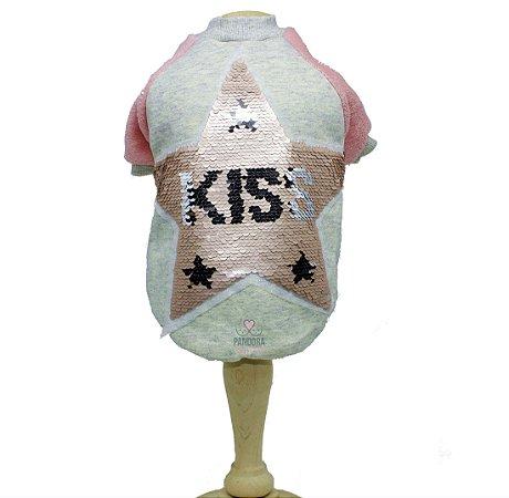 Moletom para Cachorro Malloo Star Kiss Paetê