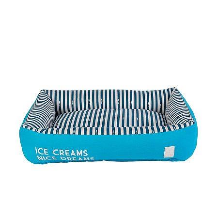 Cama Quadrada para Cachorro Woof Classic Ice Land Creams Azul
