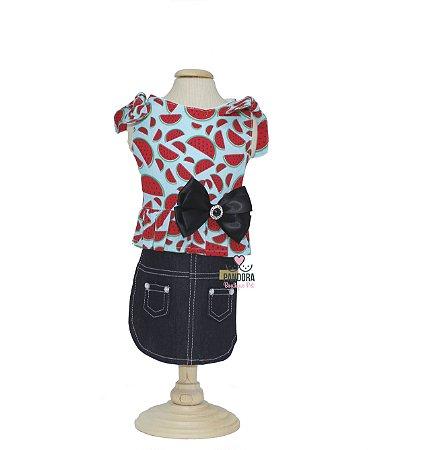 Vestido Saia Jeans Para Cachorro e Gato P&F Melancia