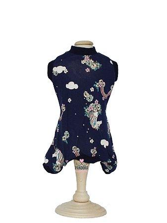 Pijama para Cachorro Malloo Unicórnio Azul Marinho
