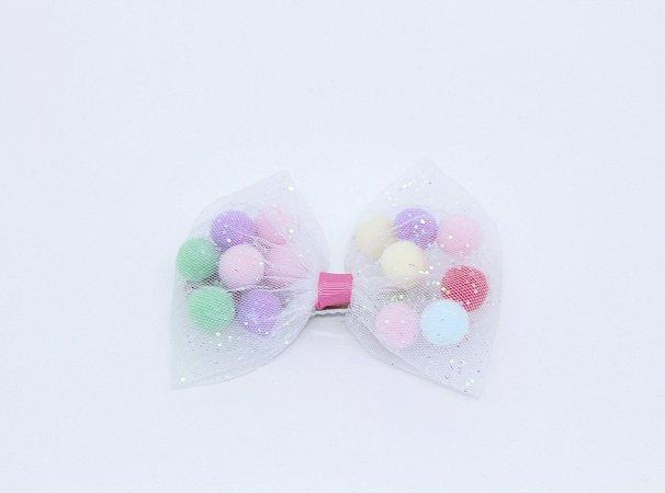 Maxi Laço Tule com Pom Pom Candy Colors e Glitter