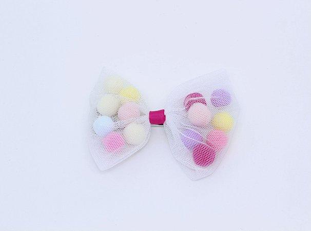 Maxi Laço Tule com Pom Pom Candy Colors
