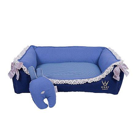 Cama Retangular para Cachorro Woof Classic Enchanté Azul Marinho