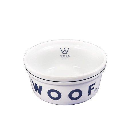 Comedouro para Cachorro em Porcelana Woof Classic Azul Marinho