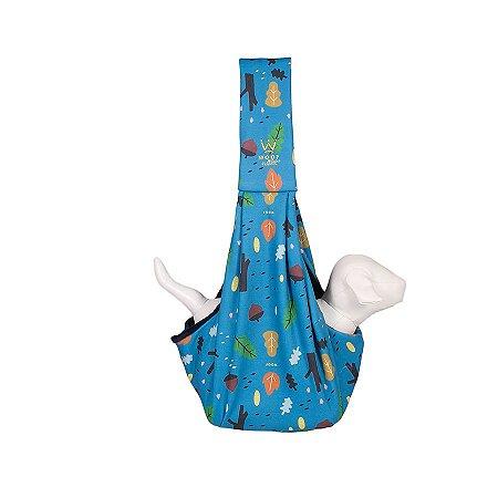 Bolsa Sling Pet Woof Classic Forest Plush Azul