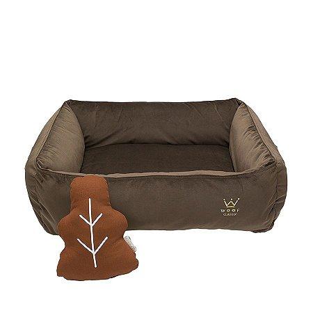 Cama Quadrada para Cachorro Woof Classic Forest Veludo Marrom