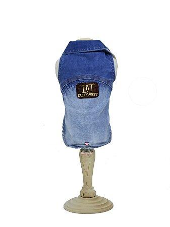 Jaqueta Jeans para Cachorro e Gato DuDog Vest Délavé