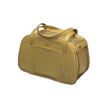 Bolsa de Transporte para Cachorro e Gato Woof Classic Glitter Ouro Light