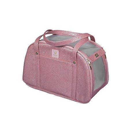 Bolsa de Transporte para Cachorro e Gato Woof Classic Glitter Rosa