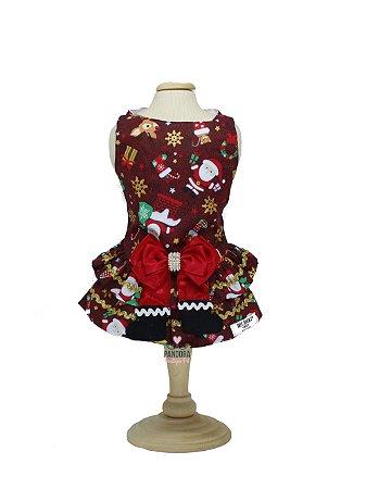Vestido para Cachorro DuDog Vest Natal Vermelho