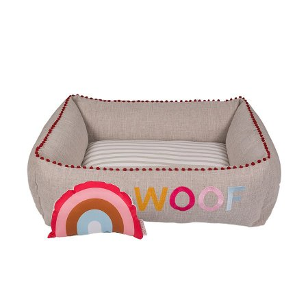 Cama Quadrada para Cachorro Woof Classic Sweet Dreams Rosa
