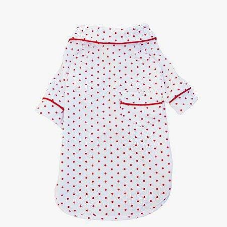 Pijama Camisa para Cachorro e Gato Poa Vermelho