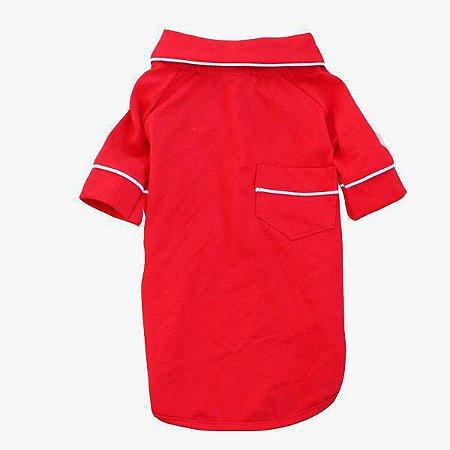 Pijama Camisa para Cachorro e Gato Vermelho