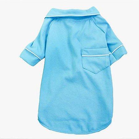 Pijama Camisa para Cachorro e Gato Azul Oceano
