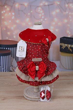 Vestido para Cachorro DuDog Vest Natal Gola Vermelho