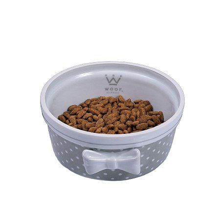 Comedouro Porcelana para Cachorro Woof Classic Laço Poá London Cinza