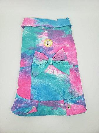 Jaqueta para Cachorro Tie Dye Azul com Laço