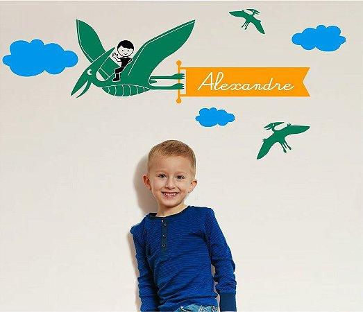 Adesivo de Parede - Dinossauro Voador Pterodáctilo + Nome