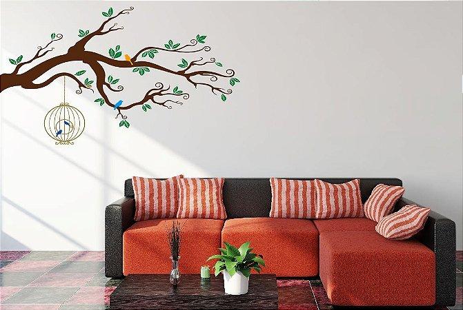 Adesivo de Parede -  Árvore, Pássaros & Gaiola