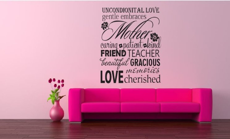Adesivo de Parede - Frase Mother Friend Love