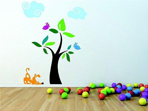 Adesivo de Parede - Árvore, Cachorro e Pássaros