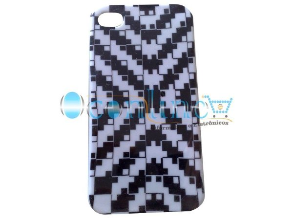 Case Acrílico Preto e Branco iPhone 4/4S
