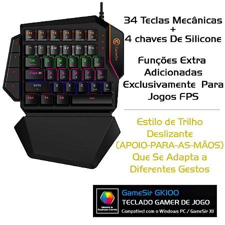 Teclado Gamer GameSir GK100 Mecânico De Uma Mão Para PC X1 FPS PUBG Fortnite