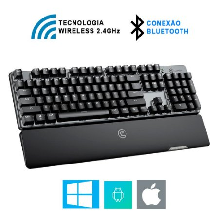 Teclado Mecânico Gamer GameSir GK300 Bluetooth Wireless Windows PC macOS Android / iOS / PUBG / FPS