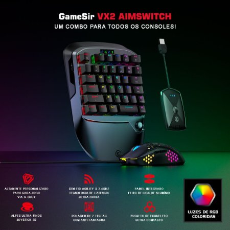 Gamesir Vx2 AimSwitch Teclado + Mouse Gamer Para PS4 / Xbox One / Switch / PC / PUBG / Fortnite / COD