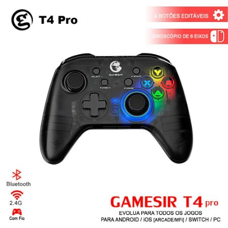 Controle GameSir T4 Pro 2.4GHz Bluetooth Wireless Para iOS / Android / PC / Nintendo Switch