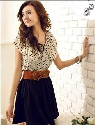 Vestido Polka Dots Importado com Cinto