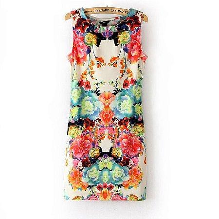Vestido Importado Multicolorido com Estampa Floral