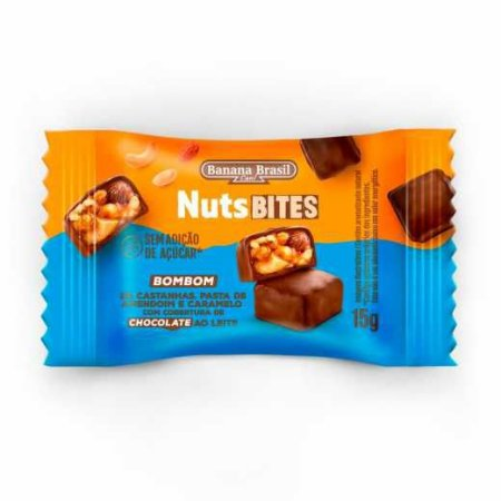 NutsBites ao Leite com Castanhas, Pasta de Amendoim e Caramelo (Zero Açúcar) 15g - Banana Brasil