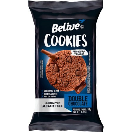Cookie Zero Açúcar e Zero Glúten (Double Chocolate) 34g - Belive