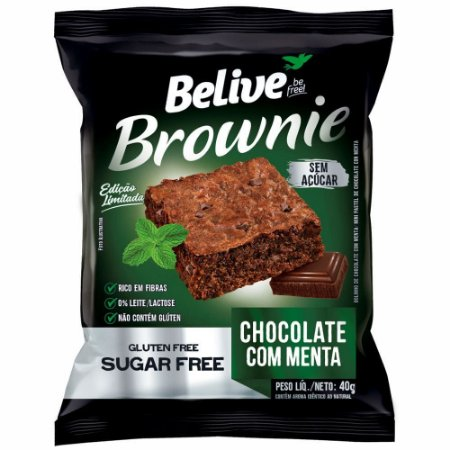 Brownie Zero Glúten e Zero Açúcar (Chocolate com Menta) 40g - Belive